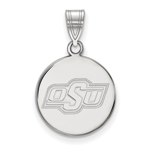 Sterling Silver 5/8in Oklahoma State University OSU Disc Pendant