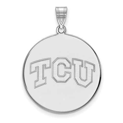 Sterling Silver 1in Texas Christian University TCU Round Pendant
