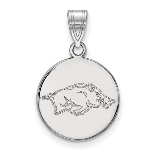 Sterling Silver 5/8in University of Arkansas Round Pendant