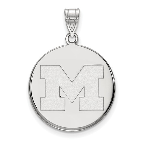 Sterling Silver 3/4in University of Michigan Disc Pendant
