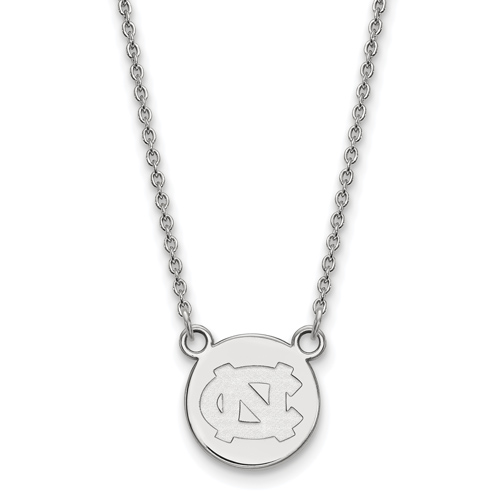 Silver 1/2in University of North Carolina NC Pendant with 18in Chain