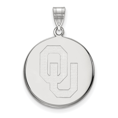 Sterling Silver 3/4in University of Oklahoma OU Disc Pendant