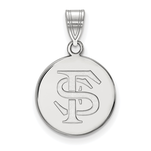 Sterling Silver 5/8in Florida State University FS Disc Pendant