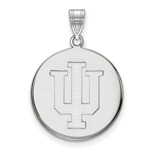 Sterling Silver 3/4in Indiana University Logo Disc Pendant