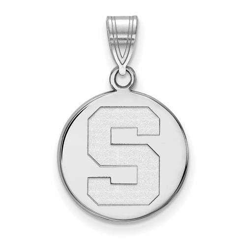 Sterling Silver 5/8in Michigan State University Block S Round Pendant