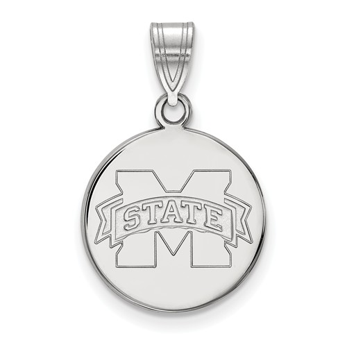 Mississippi State University Disc Pendant 5/8in Sterling Silver