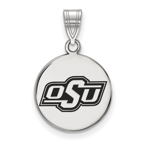Sterling Silver 5/8in Oklahoma State University OSU Enamel Disc Pendant
