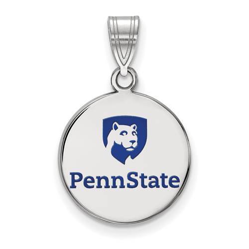 Sterling Silver 5/8in Penn State University Lion Shield Disc Pendant