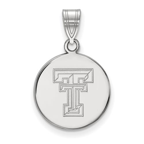 Sterling Silver 5/8in Texas Tech University Disc Pendant