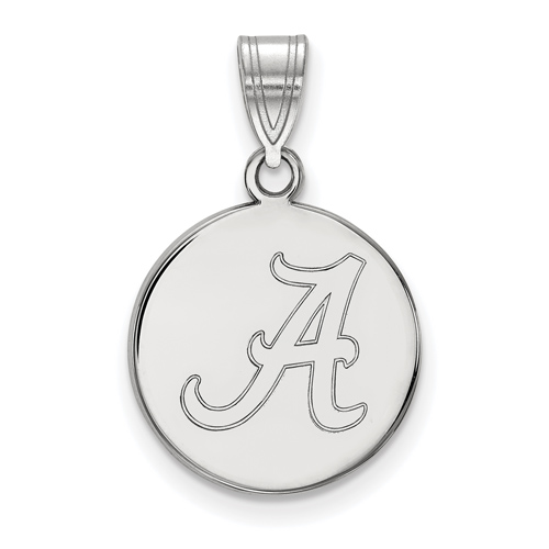 Sterling Silver 5/8in University of Alabama A Disc Pendant
