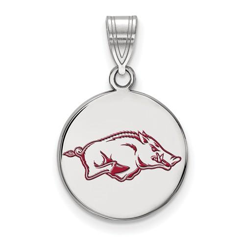Sterling Silver 5/8in University of Arkansas Round Enamel Pendant