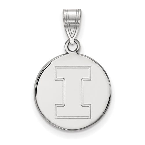 Sterling Silver 5/8in University of Illinois Block I Round Pendant