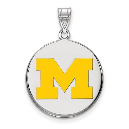 Sterling Silver 3/4in University of Michigan Yellow Enamel Disc Pendant