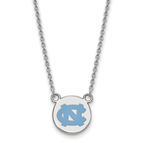 Sterling Silver 1/2in University of North Carolina NC Enamel Pendant with 18in Chain