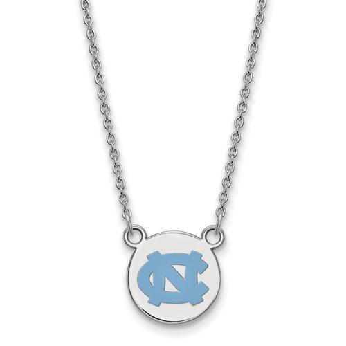 Silver 1/2in University of North Carolina NC Enamel 18in Necklace