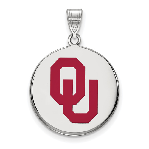 Sterling Silver 3/4in University of Oklahoma OU Enamel Disc Pendant
