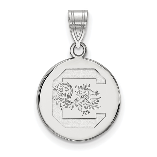 Sterling Silver 5/8in University of South Carolina Disc Pendant