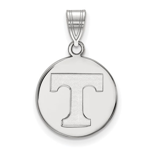 Sterling Silver 5/8in University of Tennessee T Disc Pendant