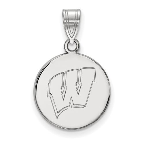 Sterling Silver 5/8in University of Wisconsin W Pendant