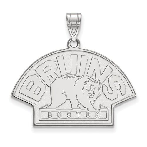 14k White Gold 3/4in Boston Bruins Bear Pendant