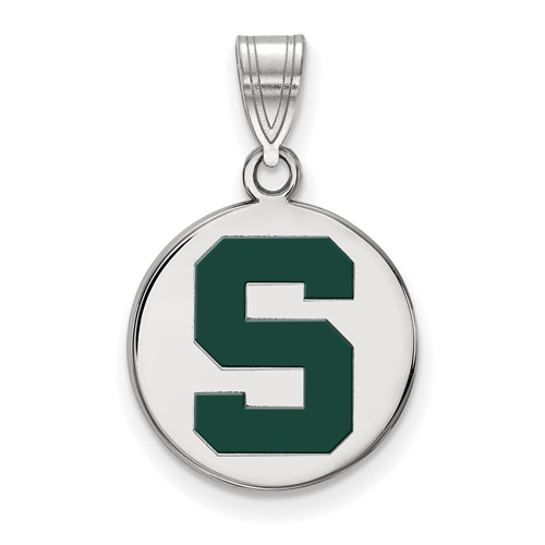Sterling Silver 5/8in Michigan State Block S Enamel Round Pendant