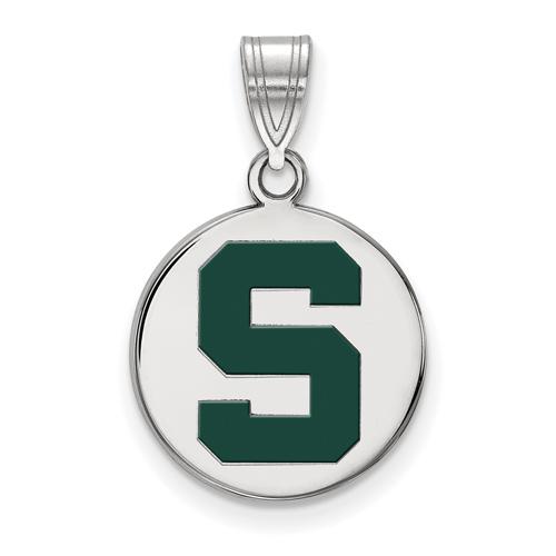 Sterling Silver 5/8in Michigan State University Block S Enamel Round Pendant