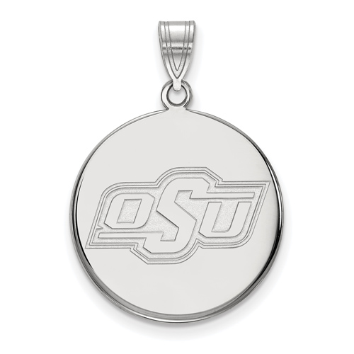 Sterling Silver 3/4in Oklahoma State University OSU Disc Pendant