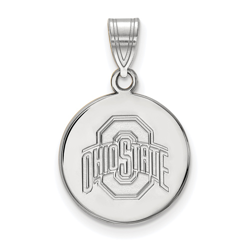 Sterling Silver 5/8in Ohio State University Disc Pendant