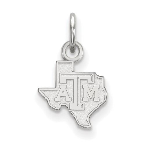 Sterling Silver 3/8in Texas A&M University State Outline Pendant