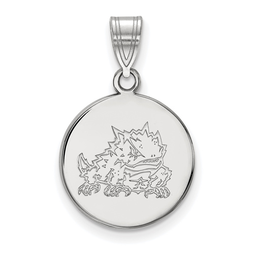 Silver 5/8in Texas Christian University Horned Frog Disc Pendant