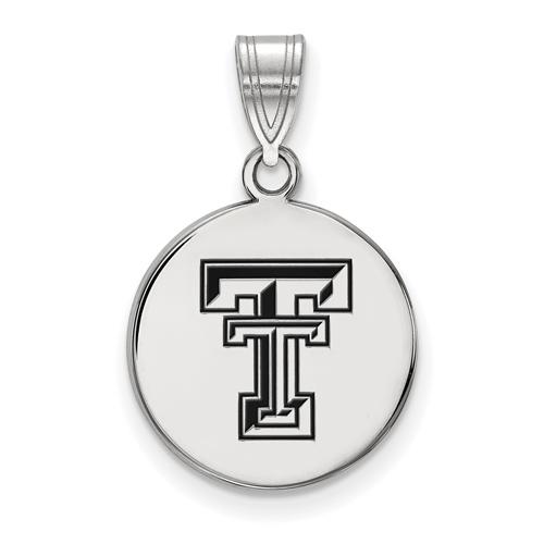 Sterling Silver 5/8in Texas Tech University Enamel Disc Pendant