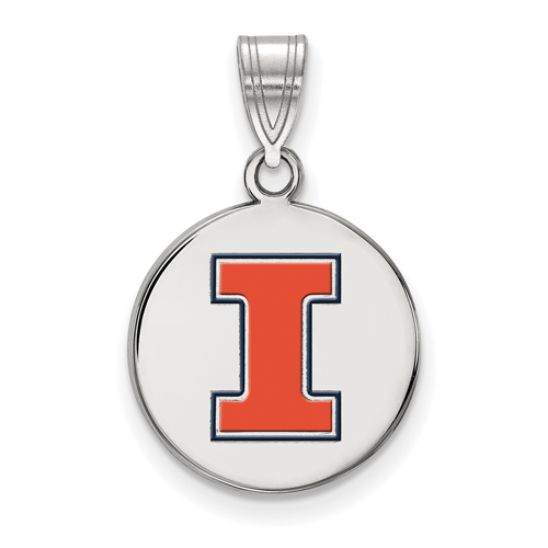 Sterling Silver 5/8in University of Illinois Block I Round Enamel Pendant