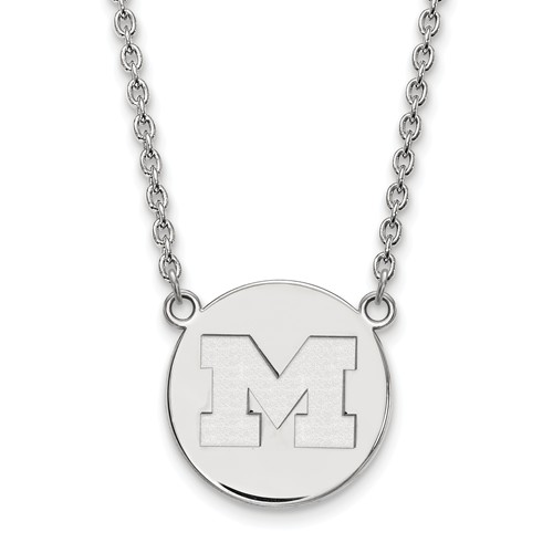 Sterling Silver University of Michigan M Pendant with 18in Chain