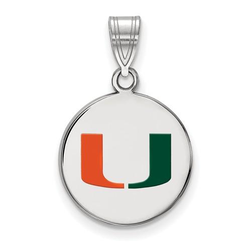Sterling Silver 5/8in University of Miami Enamel Disc Pendant