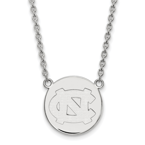 Sterling Silver University of North Carolina NC Disc Pendant with 18in Chain