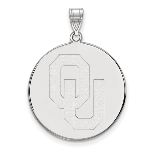 Sterling Silver 1in University of Oklahoma Round Pendant