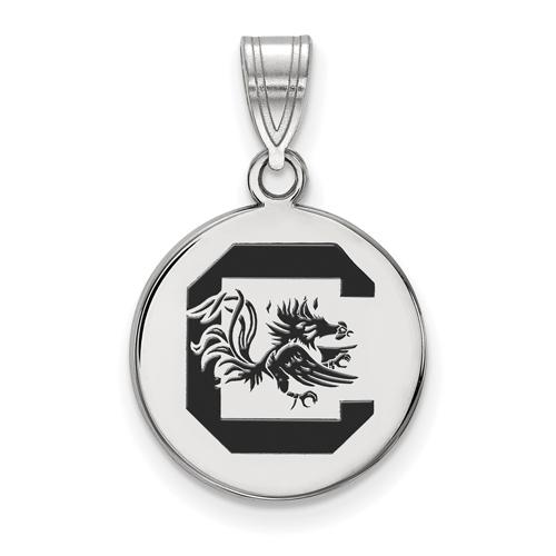 Silver 5/8in University of South Carolina Medium Enamel Disc Pendant