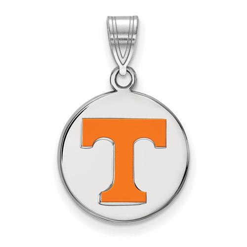 Sterling Silver 5/8in University of Tennessee T Enamel Disc Pendant