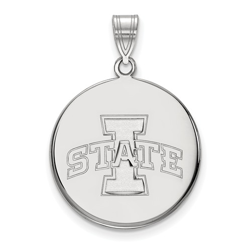 Iowa State University Disc Pendant 3/4in 10k White Gold