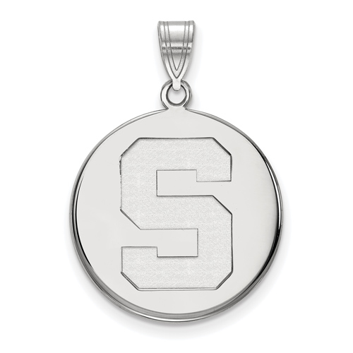 Sterling Silver 3/4in Michigan State University Block S Round Pendant