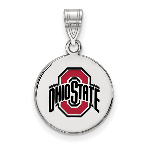 Sterling Silver 5/8in Ohio State University Enamel Disc Pendant
