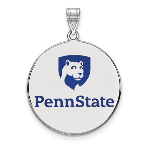 Silver 1in Penn State University Round Lion Shield Enamel Pendant