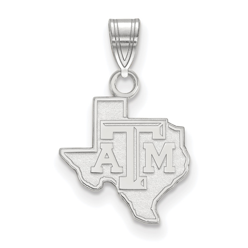 Sterling Silver 1/2in Texas A&M University State Outline Pendant