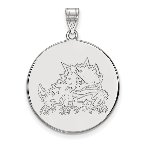 Silver 1in Texas Christian University Horned Frog Round Pendant