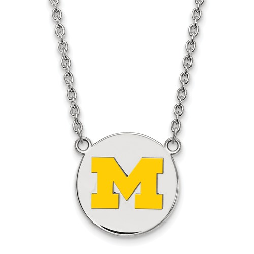 Sterling Silver University of Michigan Yellow Enamel Disc Pendant with 18in Chain