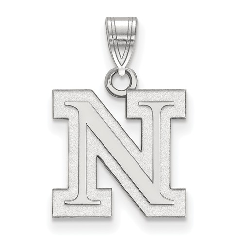 Sterling Silver 1/2in University of Nebraska Outline N Pendant