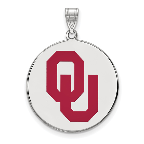 Sterling Silver 1in University of Oklahoma OU Round Enamel Pendant