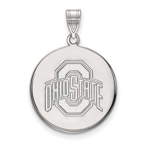 Sterling Silver 7/8in Ohio State University Disc Pendant