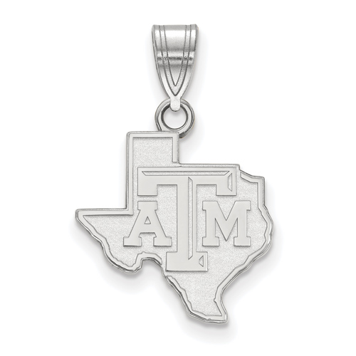 Sterling Silver 5/8in Texas A&M University State Outline Pendant
