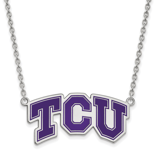 Sterling Silver Texas Christian University TCU Enamel Pendant with 18in Chain